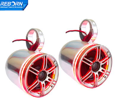 Pair of Reborn wakeboard speaker with LED light ring-Red